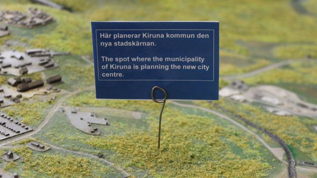 "Sign on model reads: ""The spot where the municipality of Kiruna is planning the new city centre"""