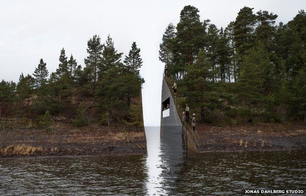 A digital impression of the memorial shows a gaping hole in the headland near Utoeya island