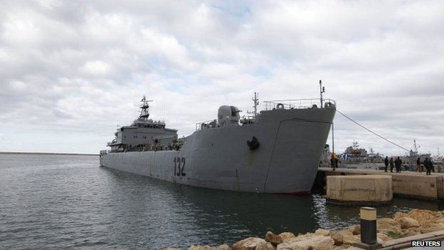 The Libyan navy ship Ibn Auf, docked in the capital Tripoli on 8 January