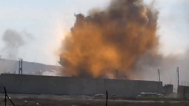 Moments after the explosion at Aleppo prison