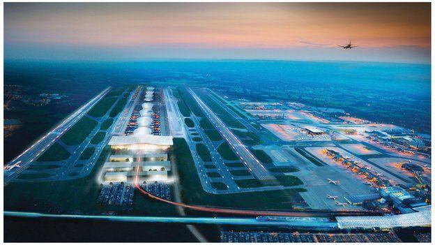 CGI of second Gatwick runway