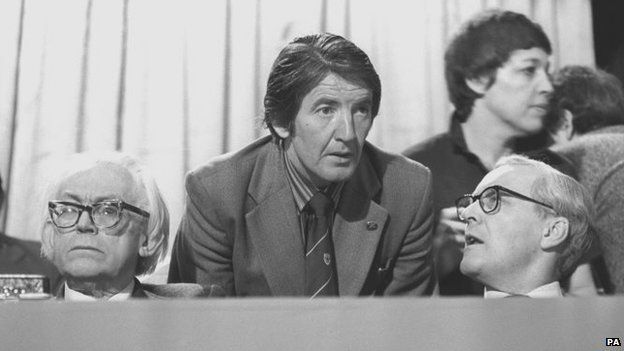 Michael Foot, Dennis Skinner and Tony Benn at the 1980 Labour Party Conference