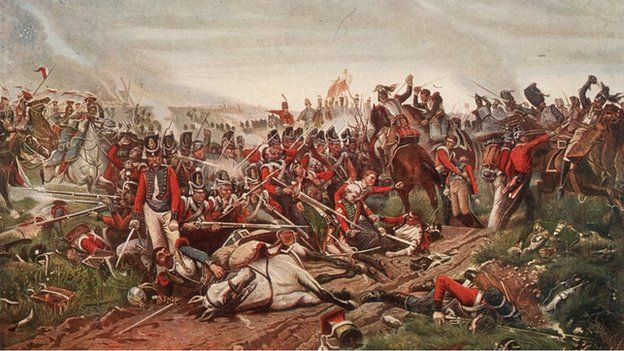 18th June 1815: French cuirassiers charging a British square during the Battle of Waterloo