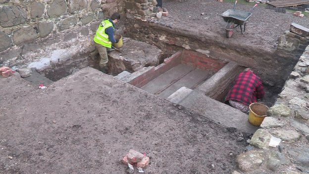 Archaeologists at work at Carrickfergus Castle