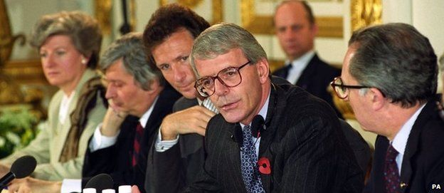 John Major hosting and Jacque Delors at a meeting in London in 1992