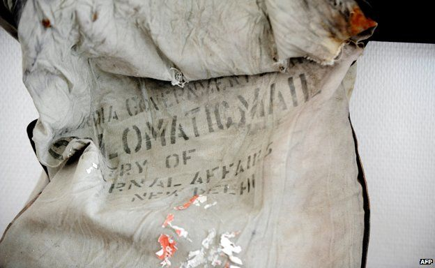 diplomatic bag reading 'Diplomatic mail' and 'Ministry of external affairs' belonging to the Indian Government after it was found at the Bossons Glacier, near the Mont Blanc in the French Alps, on August 21, 2012