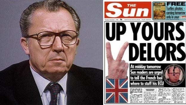 Jacques Delors, and Sun headline from 1 November 1990