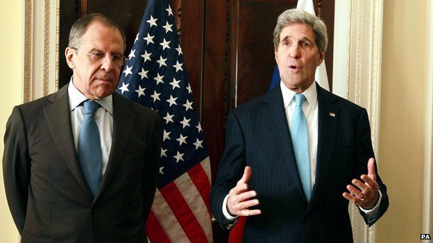 The US Secretary of State John Kerry (right) meets with the Russian foreign minister Sergey Lavrov (left) at the US Ambassadors Residence in central London on 14 March 2013.