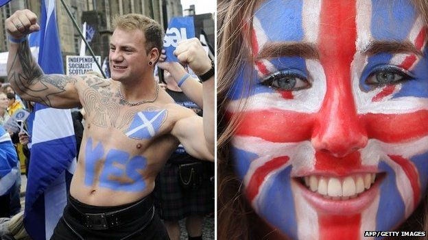 A Yes campaigner and a girl with a union jack painted on her face