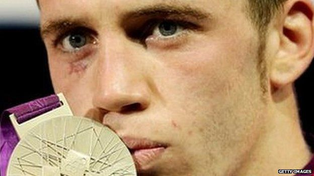 Fred Evans with his silver medal
