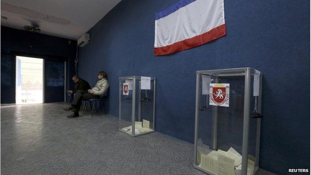Empty polling station in Bakhchisaray, Crimea (16 March 2014)