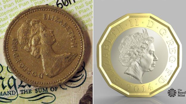 Old pound coin, new pound coin