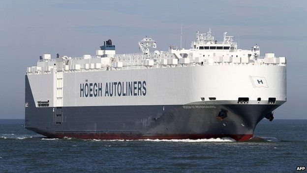 The St Petersburg, a Norwegian merchant ship, that is helping with search efforts