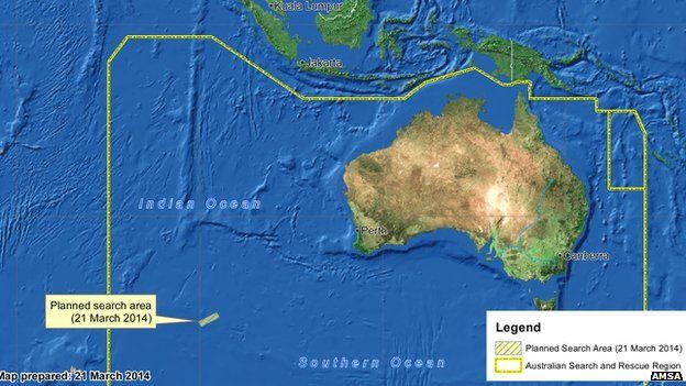 Amsa map of search area for 21 March