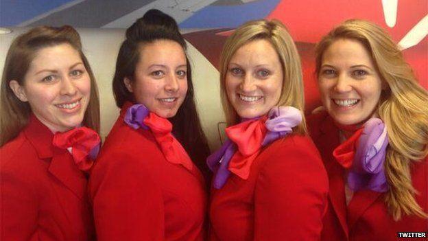 Virgin cabin crew selfie