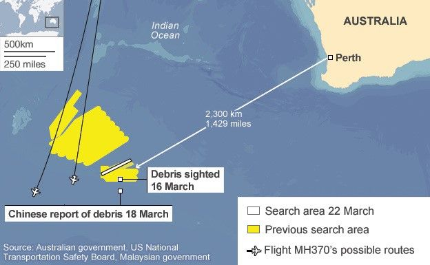 Map showing search area for MH370