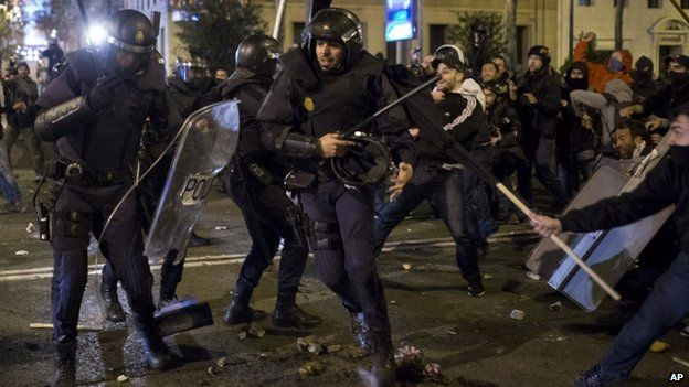Police clash with demonstrators during the protest