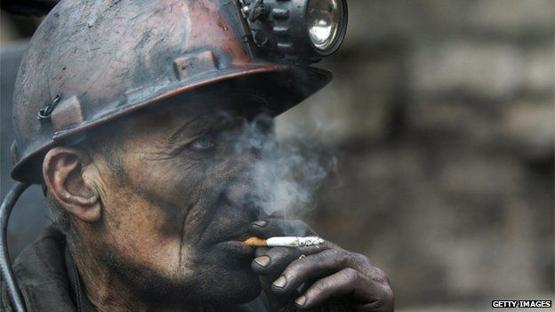 A miner in Donetsk