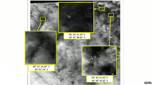 The images, given to the Malaysian Remote Sensing Agency by Airbus, show several light-coloured objects