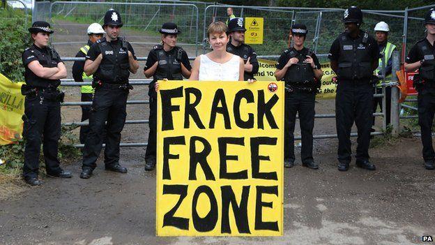 Caroline Lucas outside Cuadrilla's oil drilling site in Balcombe