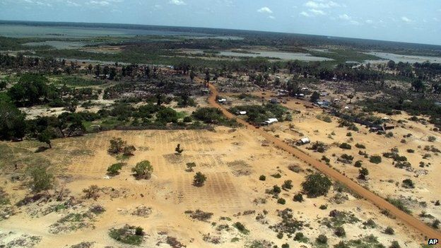 The abandoned devastation is seen in this aerial photo showing part of the former conflict zone on the north east coast of Sri Lanka, Saturday, May 23, 2009