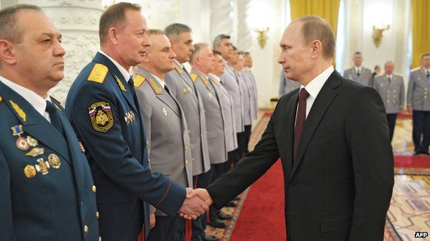 Putin with Russian officers