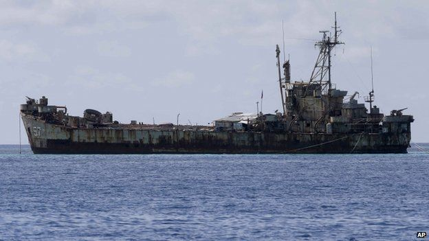 A dilapidated Philippine Navy ship LT 57 (Sierra Madre) with Philippine troops deployed on board is anchored off Second Thomas Shoal off the South China Sea, 29 March 2014