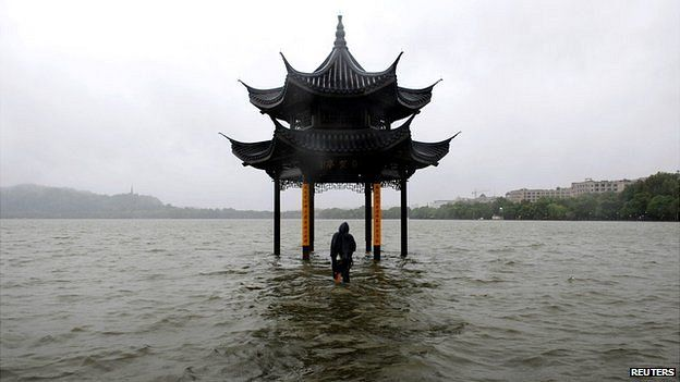 Flooded pavilion in China