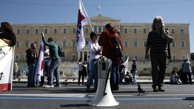 A loudspeaker is seen in front of the Greek parliament during a rally in Athens, on 19 March 2014