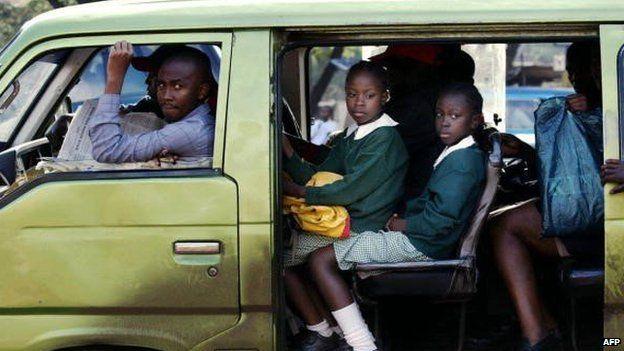 Archive shot of a matutu bus in Nairoib, Kenya