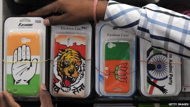 Mobile phone covers featuring various Indian political parties (3 April)
