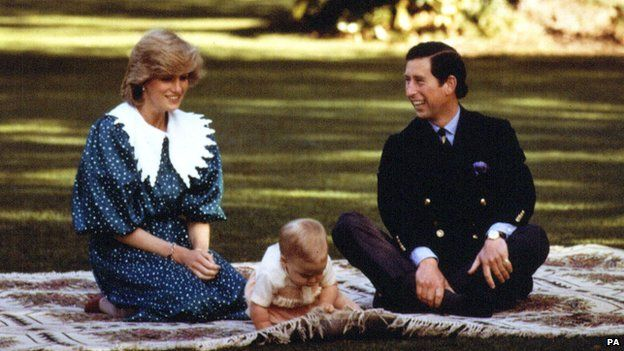 Prince William and the Prince and Princess of Wales in 1983