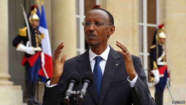 File photo of Rwanda's President Paul Kagame speaking to journalists in the courtyard of the Elysee palace in Paris