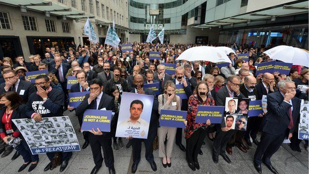 BBC staff holding minute of silence (07/04/14)