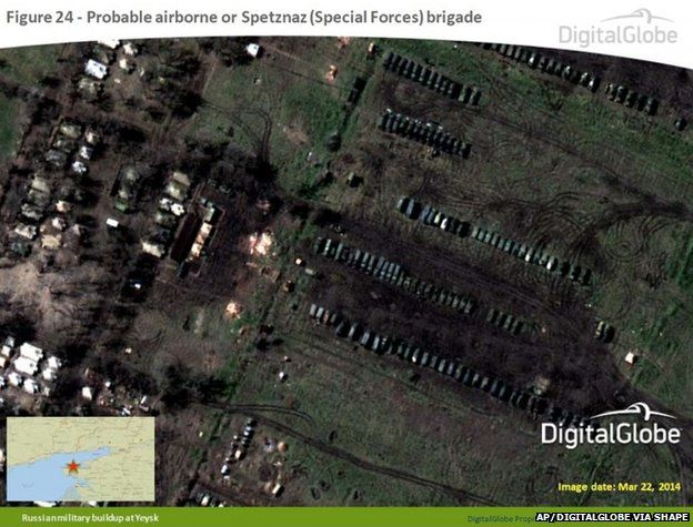Satellite image taken 22 March 2014, and provided by Supreme Headquarters Allied Powers Europe (SHAPE) on 9 April 2014, shows what is purported to be a Russian military airborne or Spetznaz (Special Forces) brigade at Yeysk, near the Sea of Azov in southern Russia