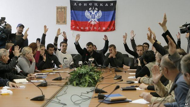 Pro-Russian protesters in Donetsk. 10 April 2014