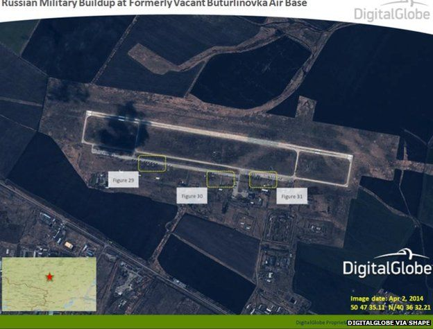 Satellite image taken on 2 April 2014, shows what appears to be a Russian military build-up at the formerly vacant Buturlinovka Air Base in Russia