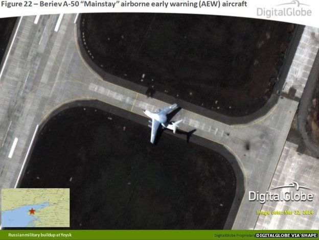 This satellite image, taken on 22 March, appears to show a Beriev A-50 Mainstay airborne early warning aircraft at Yeysk, Russia