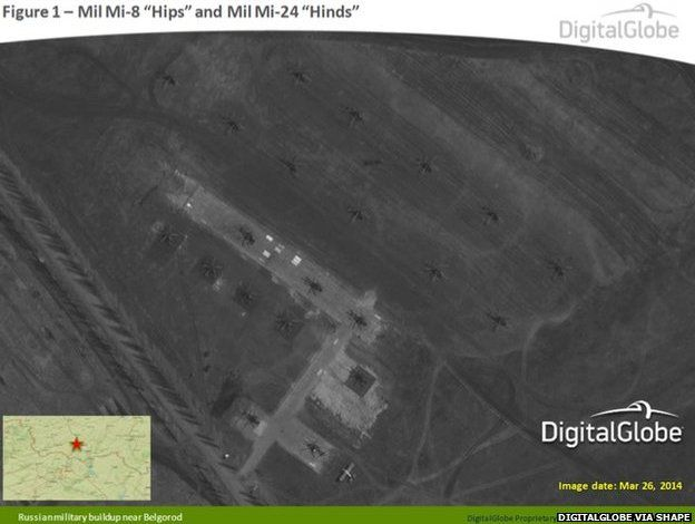 This satellite image from 26 March 2014 appears to show Russian Mil Mi-8 Hips and Mil Mi-24 Hinds near Belgorod, Russia
