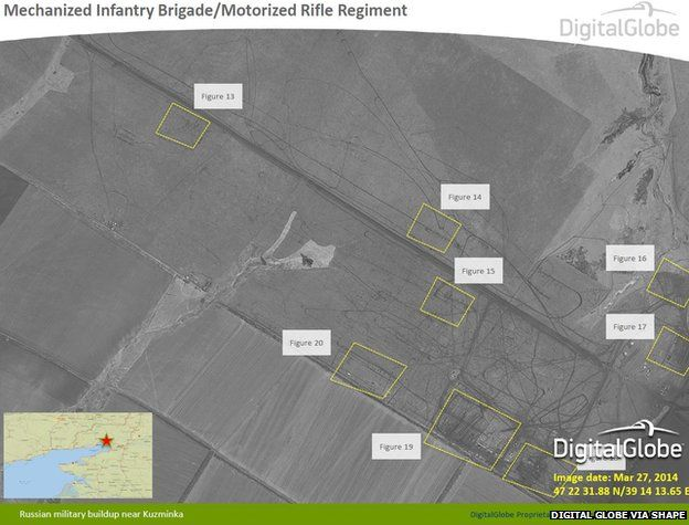 Satellite image taken on 27 March 2014 showing Russian military build-up near Kuzminka