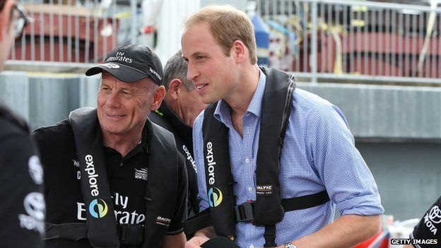 Prince William on a yacht in New Zealand