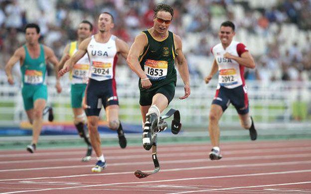 Oscar Pistorius winning the 200m in Athens