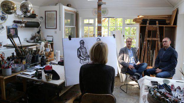 Susanne at work in her studio in Berkshire