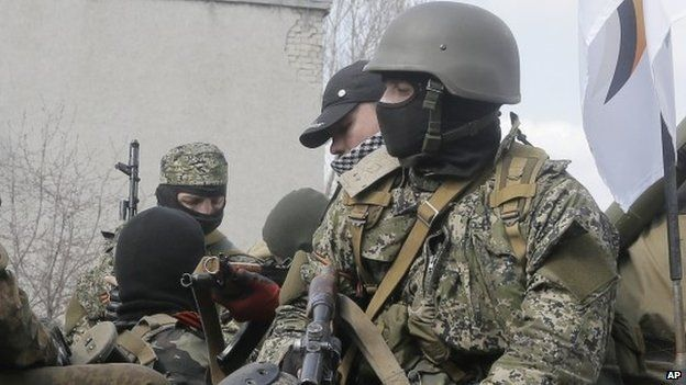 Pro-Russian gunmen in eastern Ukraine, 16 April 2014