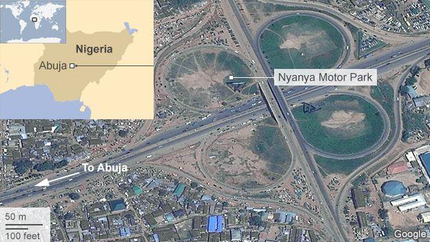 Satellite image showing Nyanya motor park
