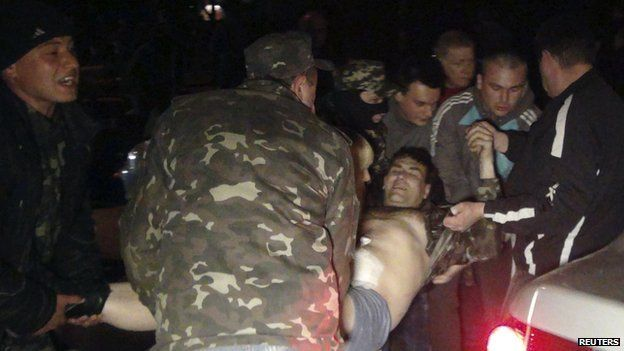 Man wounded in Mariupol clash, 16 Apr 14
