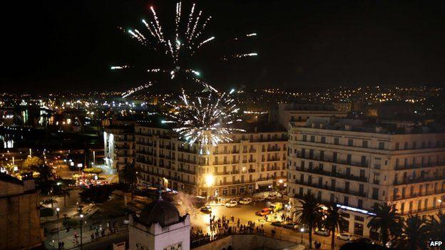 Fireworks explode in the sky as supporters of Abdelaziz Bouteflika celebrate in Algiers on 17 April 2014