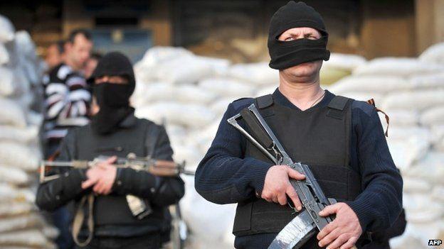 Pro-Russian activists in Sloviansk - 18 April