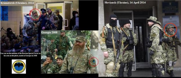 Three photos provided by Ukrainian government appear to show the same soldier in operations in Georgia in 2008 and in Kramatorsk and Sloviansk in Ukraine in 2014