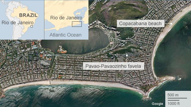 Map showing Copacabana beach and nearby favela